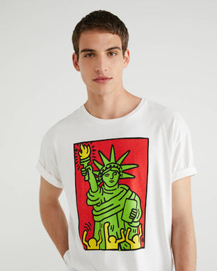 Benetton Keith Haring T-shirt Green Liberty Tee