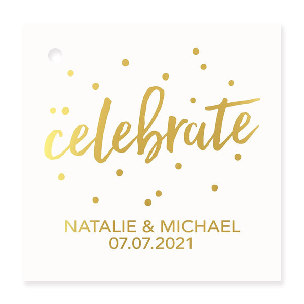 Celebrate Metallic Foil Square Favor Tag