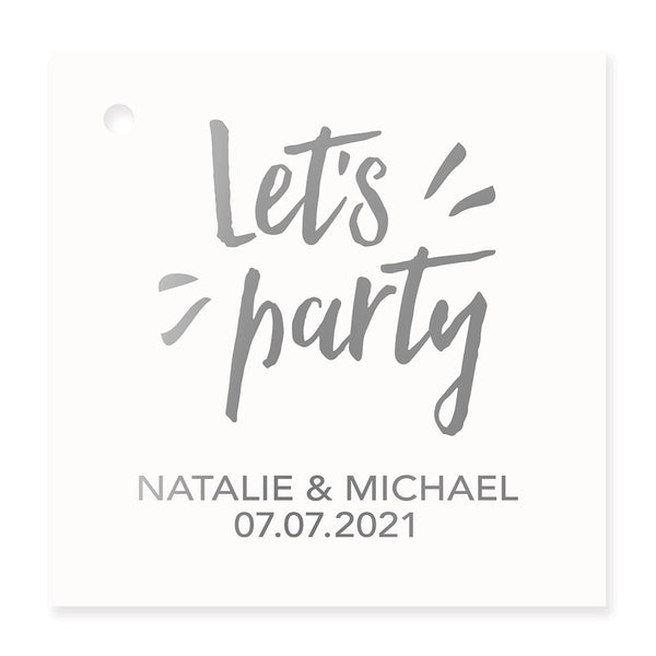 Let's Party Metallic Foil Square Favor Tag