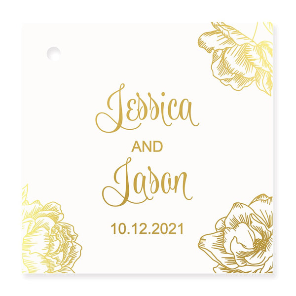 Metallic Foil Square Favor Tag