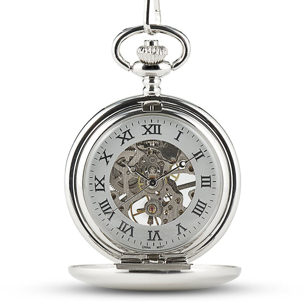 Personalized Silver Mechanical Pocket Watch & Fob - Modern Groomsman/Best Man