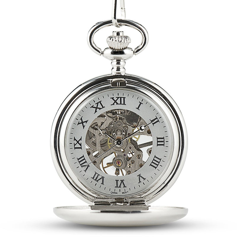 Personalized Silver Mechanical Pocket Watch & Fob - Traditional Monogram
