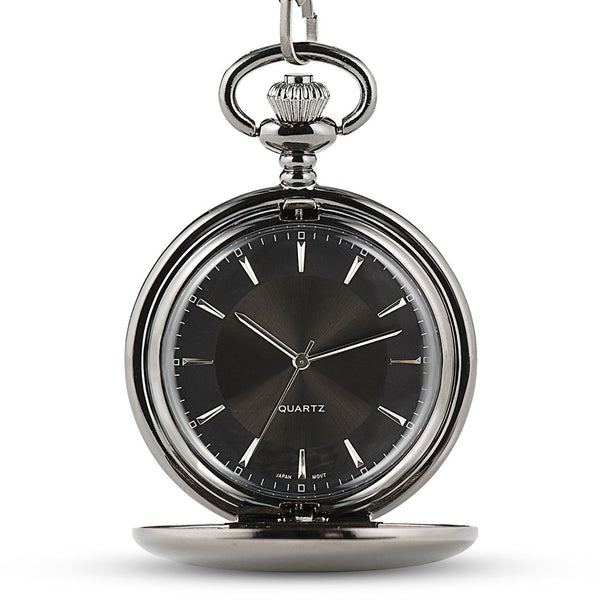 Gunmetal Pocket Watch & Fob - Modern Groomsman