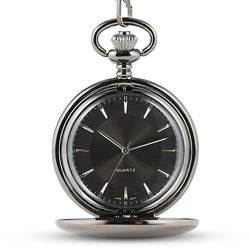 Gunmetal Pocket Watch & Fob - Monogram