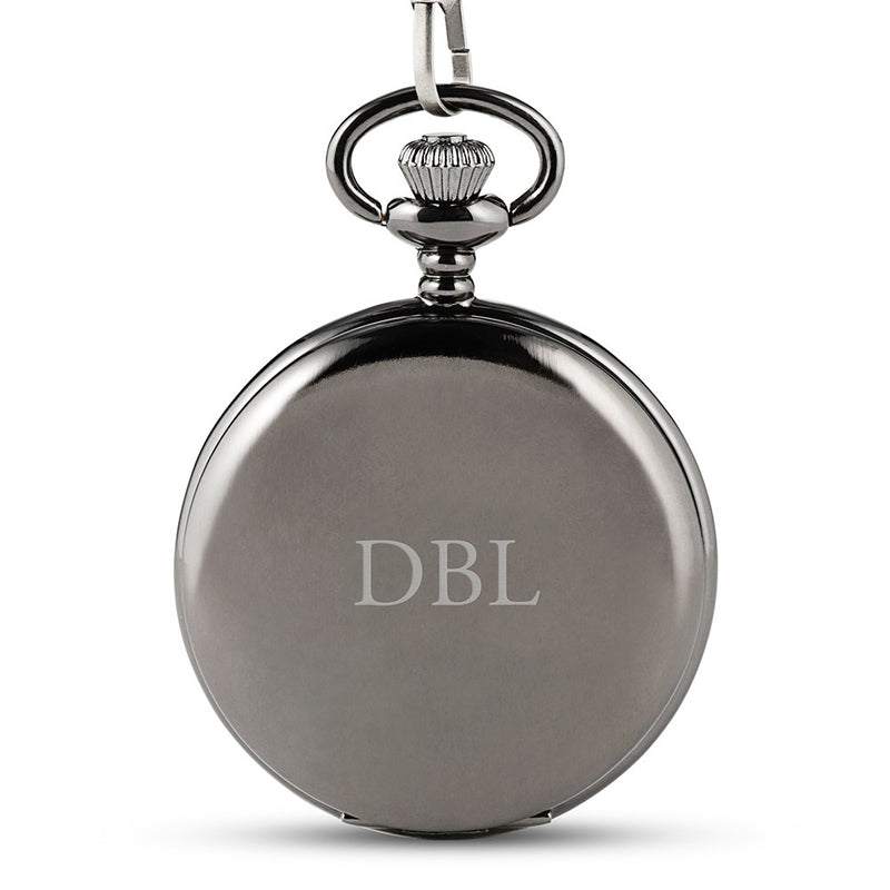 Personalized Gunmetal Mechanical Pocket Watch & Fob - Traditional Monogram