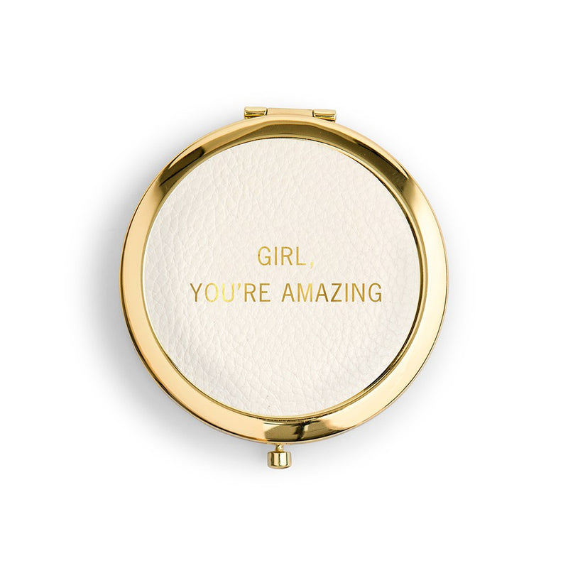 Girl, you're Amazing Vegan Leather Compact Mirror