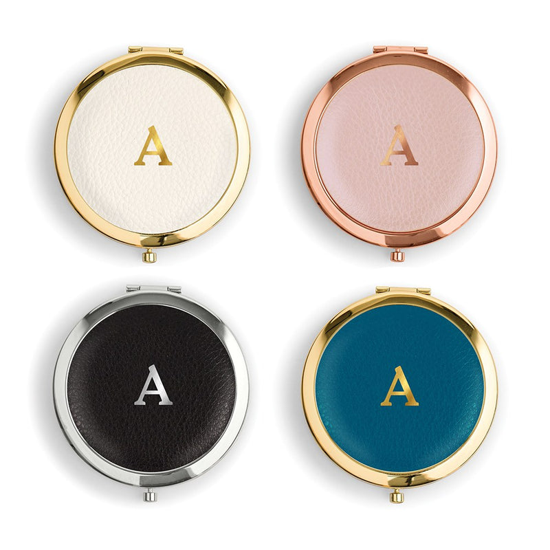 Initial Monogram Vegan Leather Compact Mirror