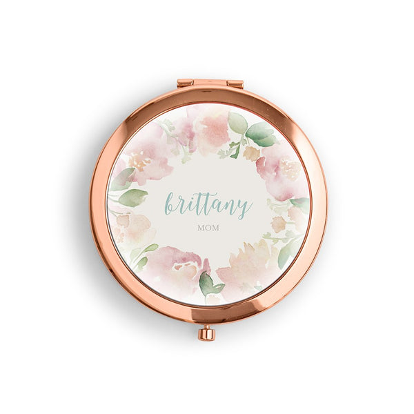 Mom Vegan Leather Compact Mirror