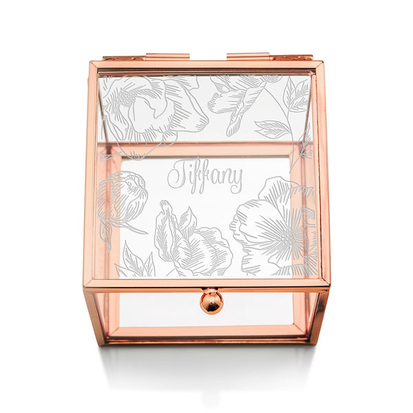 Floral Rose Gold Glass Jewelry Box