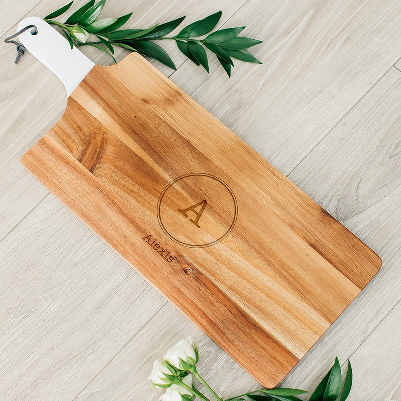 Rustic Chic engraved rectangle cutting board-Circle Monogram