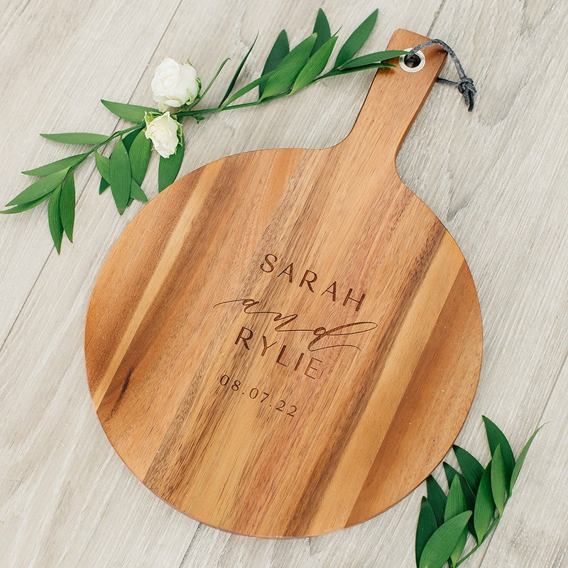 Rustic Chic engraved round cutting board-Modern couple Design