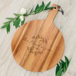 Rustic Chic engraved round cutting board-Script Design