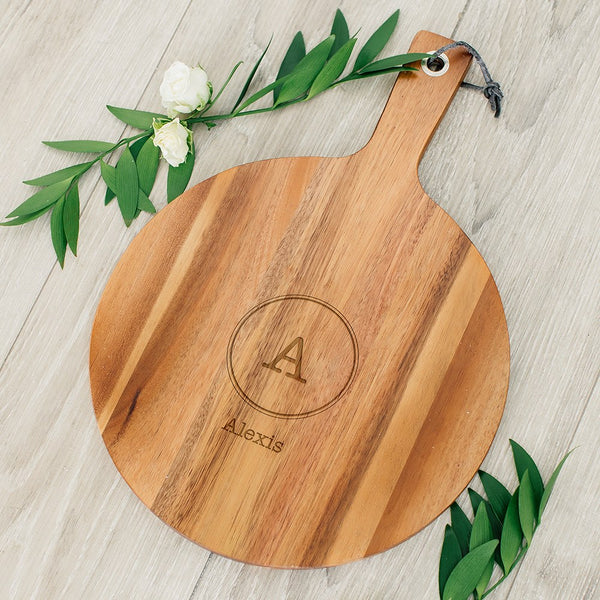 Rustic Chic engraved round cutting board-Circle Monogram