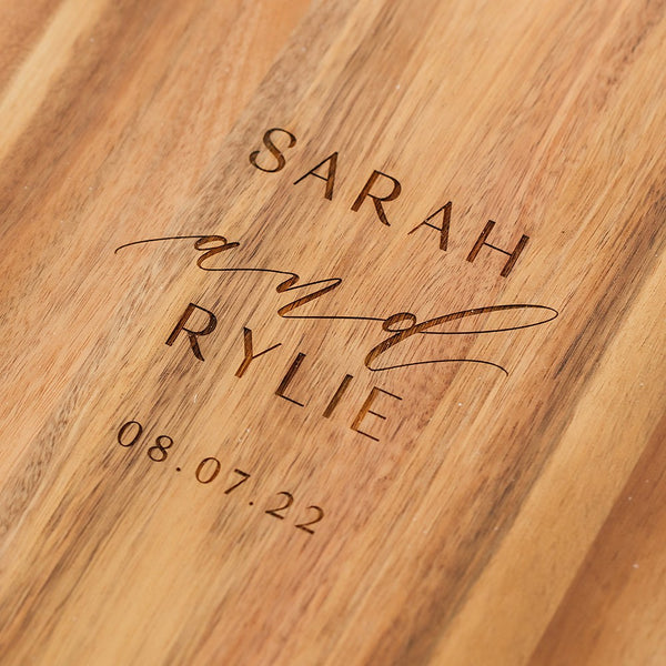 Rustic Chic engraved rectangle cutting & Serving board-Modern couple Design