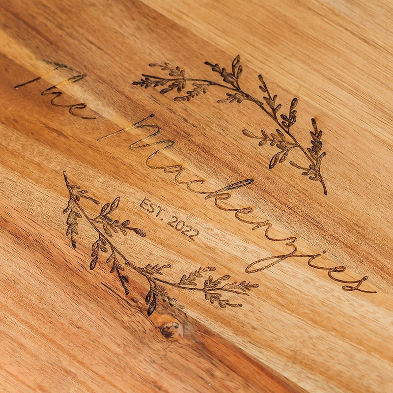 Rustic Chic engraved rectangle cutting & Serving board-Script Design