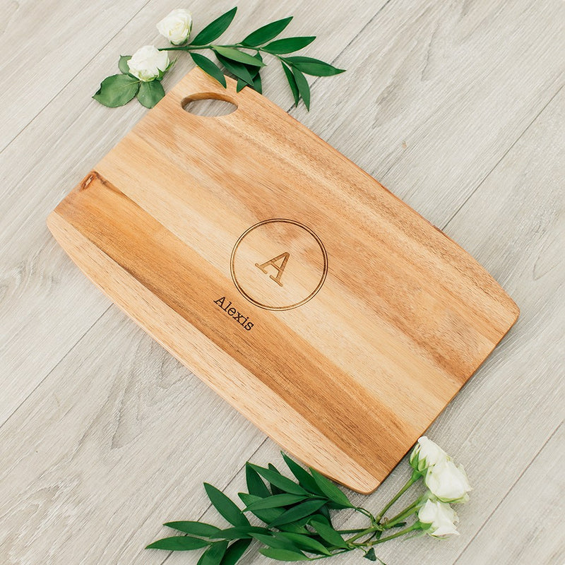 Rustic Chic engraved rectangle cutting & Serving board-Monogram Design