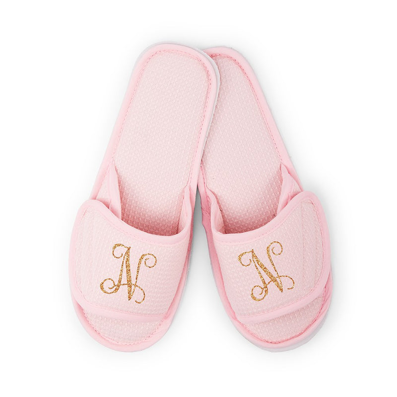 Cotton Waffle Slippers Monogram Design