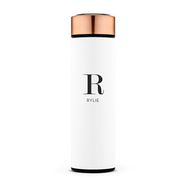 Personalized Stainless Steel Cylinder Travel Bottle - Modern Initial