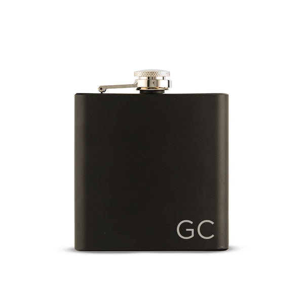 Black Initial Engraved Flask