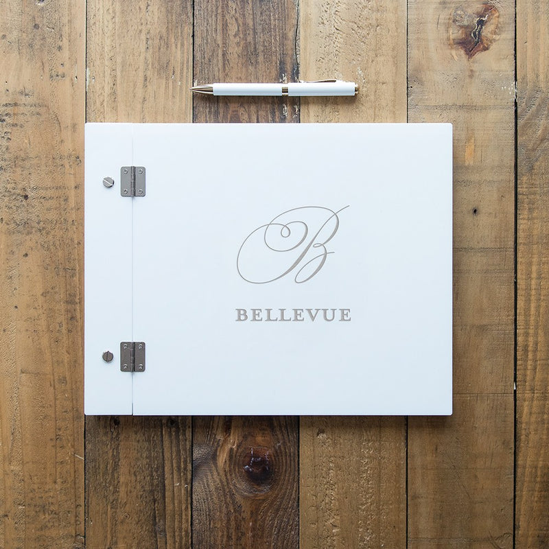 White Acrylic Monogram Guest Book