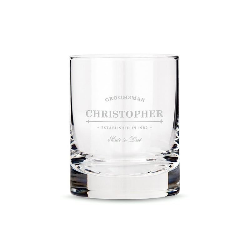 Personalized Old Fashioned Whiskey Glass-Groomsmen & Best Man