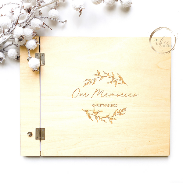 Engraved Wood Family Christmas Photo Album