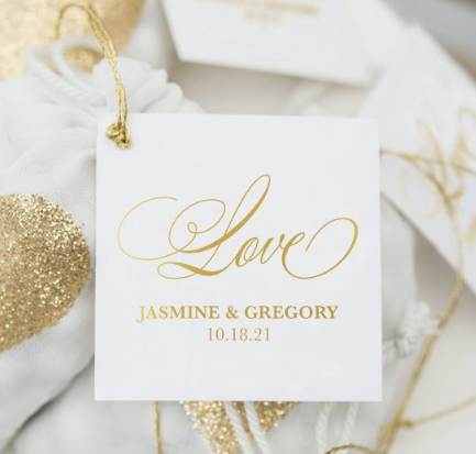 Love Script Metallic Foil Square Favor Tag