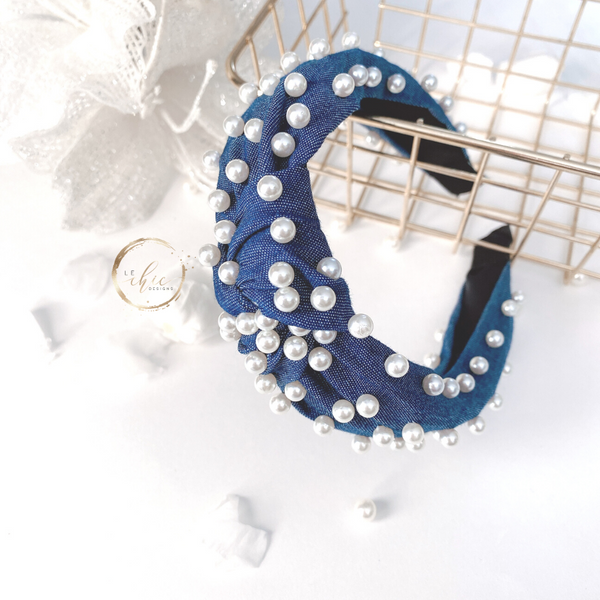 The Denim Pearl Headband