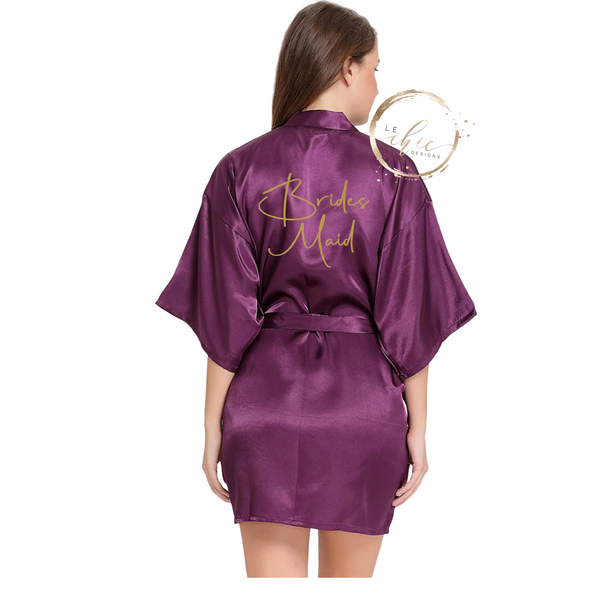 Aria Bridal Party Satin Robe Allura Script
