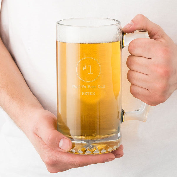 Personalized Large Glass Beer Mug – World's Best Dad Engraving