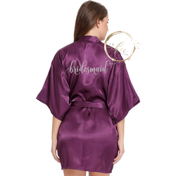 Aria Bridal Party Satin Robe Flora Script