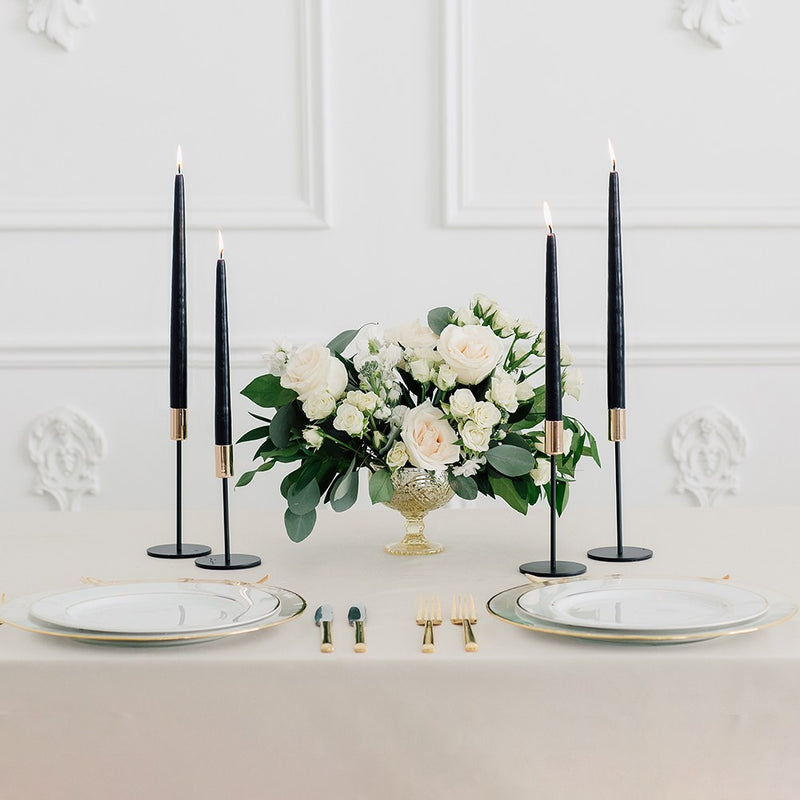 Modern Tiered Taper Candle Holders - Black & Gold - Set Of 2