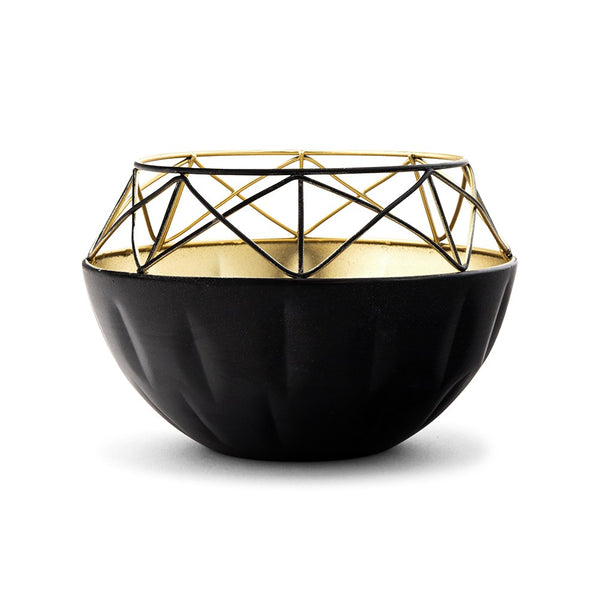 Short Round Metal Candle Holder - Black With Gold Interior
