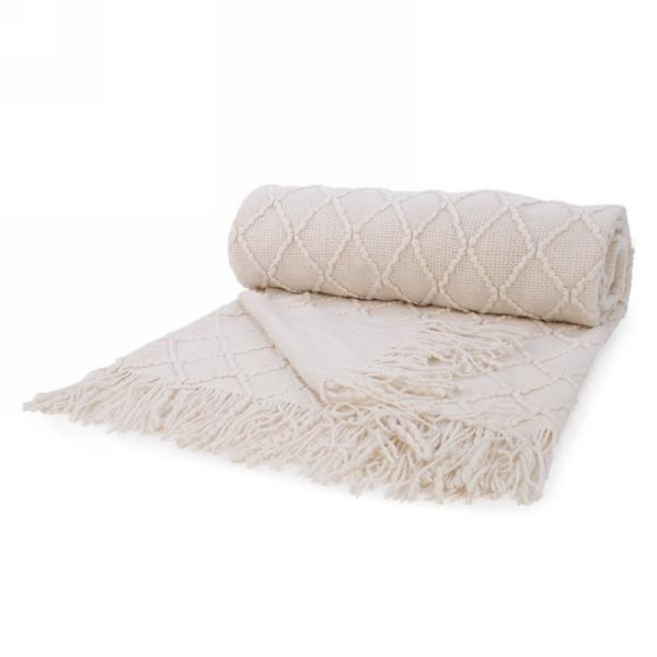 Cream Knit Throw with Fringe