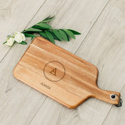 Wooden Paddle Cutting & Serving Board With Handle - Circle Monogram