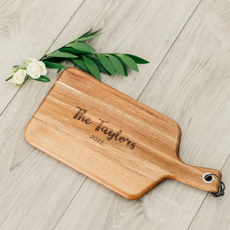 Wooden Paddle Cutting & Serving Board With Handle - Retro Script