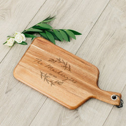 Wooden Paddle Cutting & Serving Board With Handle - Signature Script