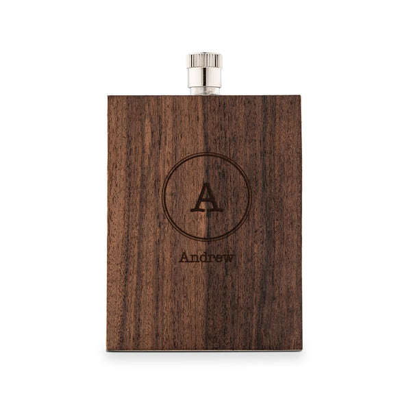 Personalized Rustic Wood Wrapped Stainless Steel Flask – Circle Monogram Print