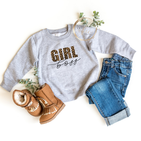 Leopard Girl Boss youth crewneck