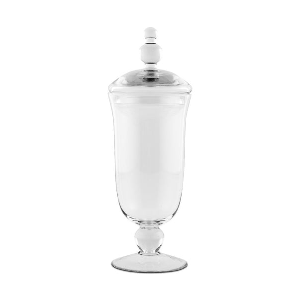 Large Glass Apothecary Jar – Footed Vase With Lid