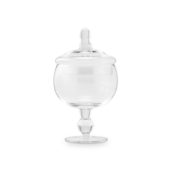 Small Glass Apothecary Jar - Footed Globe Bowl With Lid