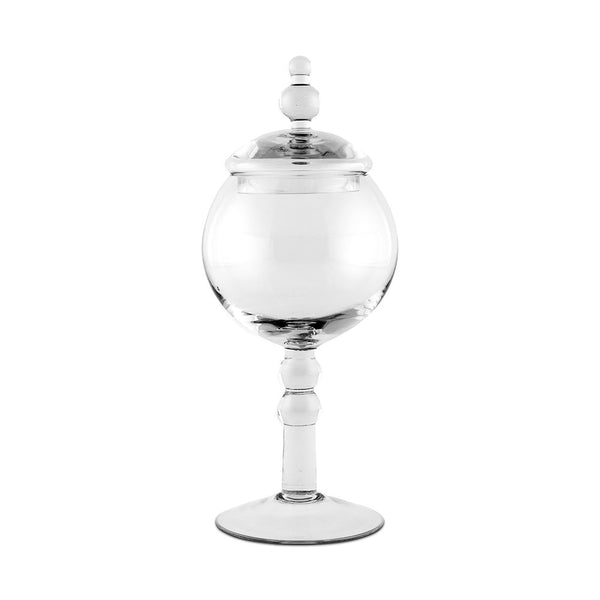 Large Glass Apothecary Jar – Footed Globe Bowl With Lid