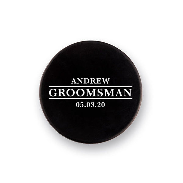 Custom Hockey Lover Puck Bottle Opener-GROOM