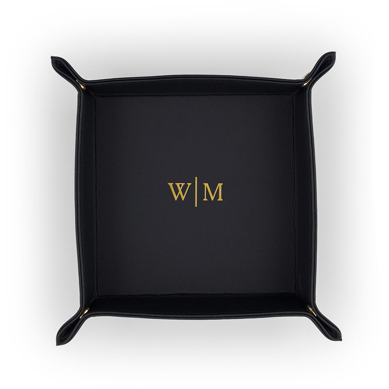 Personalized Leather Jewellery Tray– Gold Line Monogram Emboss