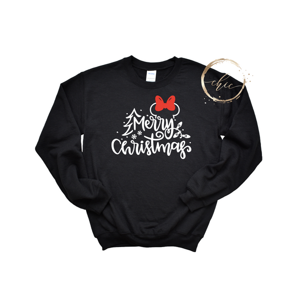 Minnie Mouse Merry Christmas Glitter Crewneck
