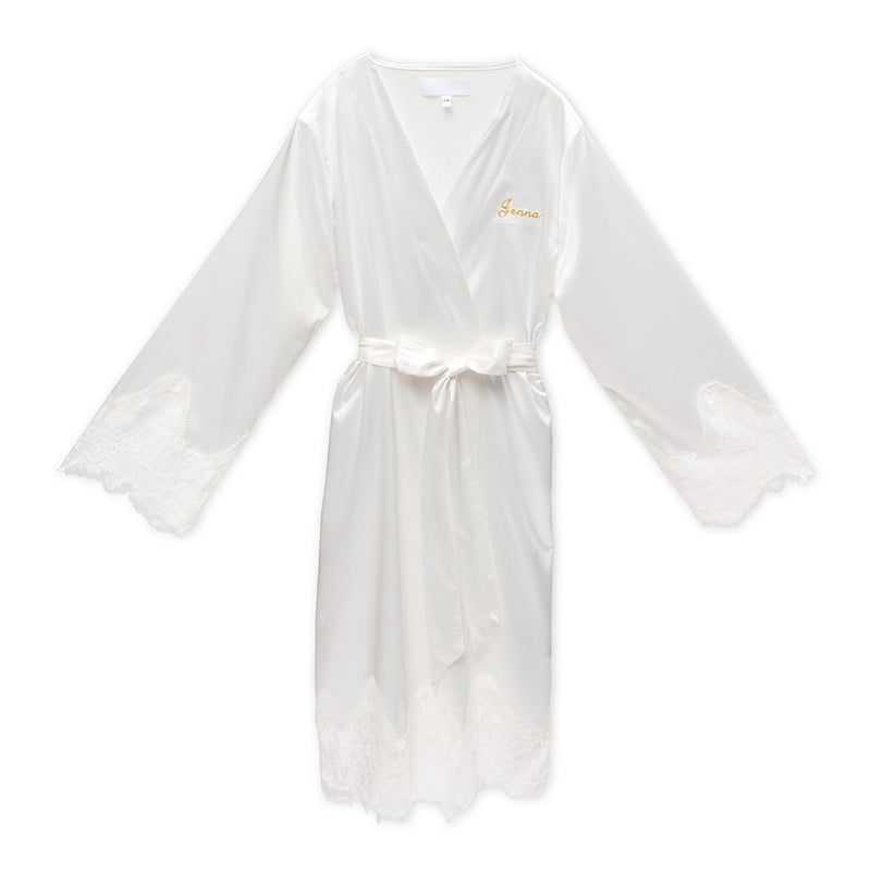 Eloise Embroidered Silky & Lace Trim Bridal Wedding Robe - White