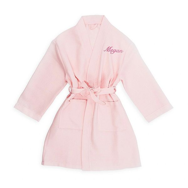 Pink Waffle Cotton LITTLE Girl's Robe with Pockets