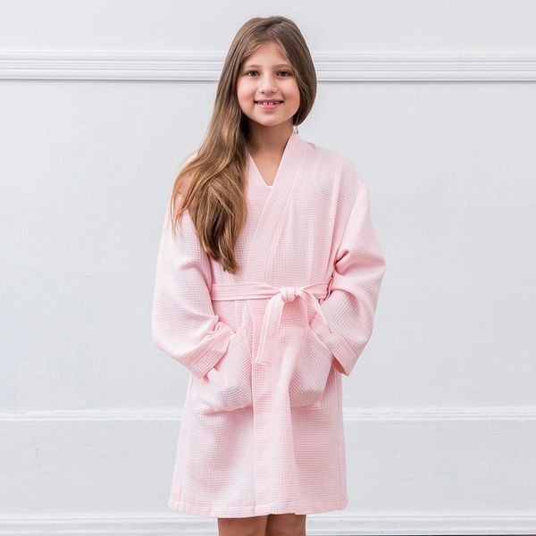 Pink Waffle Cotton Tween Girl's Robe with Pockets