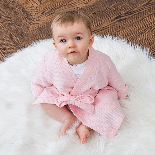 Embroidered Baby Girl's Robe with Pockets