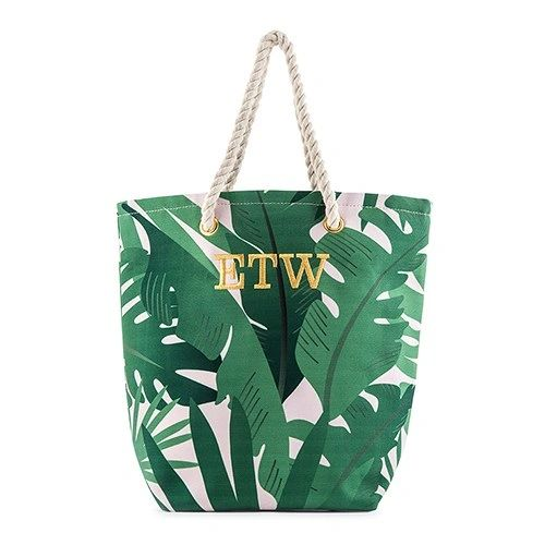 Cotton Canvas Beach Tote Bag- Tropical Leaf